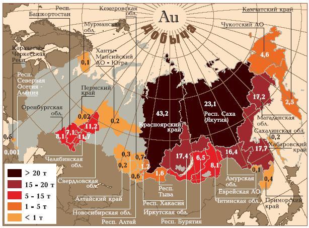 Карта рф с золотом