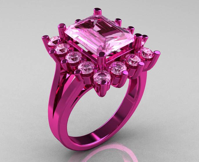 Кольцо розового цвета