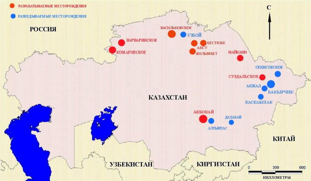 Карта мест добычи золота в Казахстане