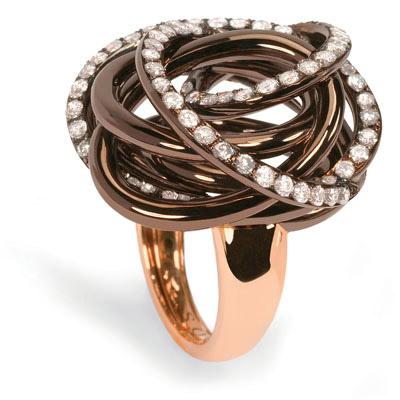 Кольцо со вставка коричневого