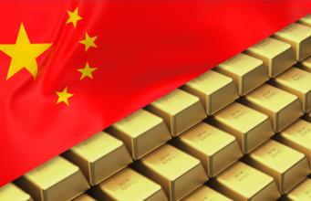 Слитки и китайский флаг