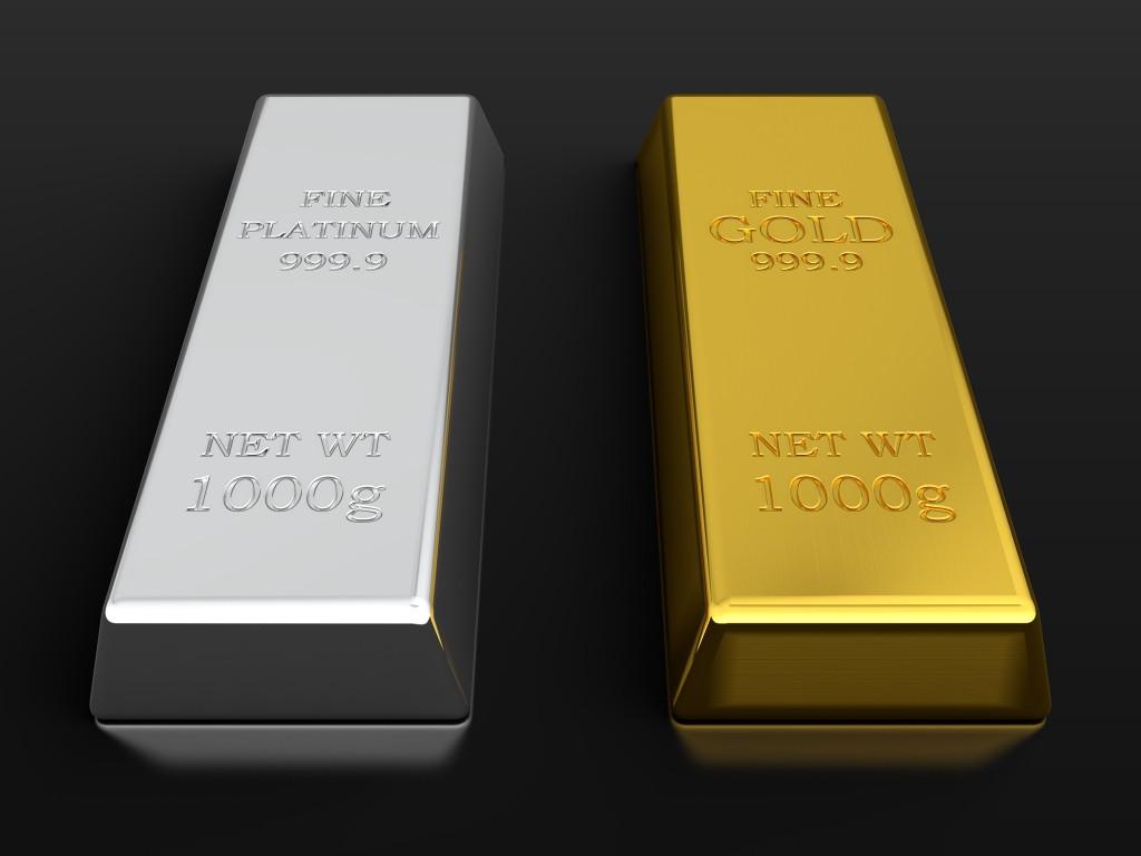Слитки платины и золота