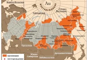 Места добычи золота в России